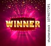 winner frame label  falling... | Shutterstock .eps vector #1074077291