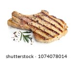 grilled pork isolated on white... | Shutterstock . vector #1074078014