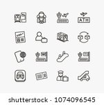 airport icon set and phone... | Shutterstock .eps vector #1074096545