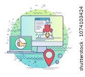 website promotion. modern flat... | Shutterstock .eps vector #1074103424