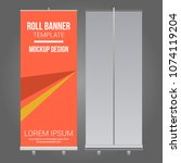roll up banner abstract design... | Shutterstock .eps vector #1074119204