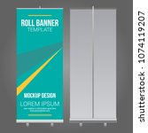 roll up banner abstract design... | Shutterstock .eps vector #1074119207
