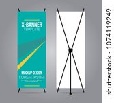 stand x banner mockup abstract... | Shutterstock .eps vector #1074119249