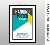 hanging poster in frame on the...   Shutterstock .eps vector #1074119291