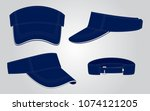 navy blue sun visor cap for... | Shutterstock .eps vector #1074121205