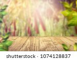 empty texture wooden table with ... | Shutterstock . vector #1074128837