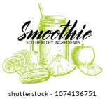 vector hand drawn smoothie... | Shutterstock .eps vector #1074136751