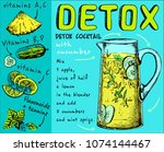 recipe detox cocktail with... | Shutterstock .eps vector #1074144467