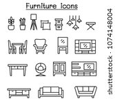 furniture icon set in thin line ... | Shutterstock .eps vector #1074148004