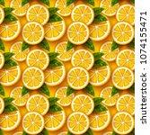 orange fruit seamless pattern.... | Shutterstock .eps vector #1074155471