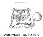 Hands Chained To Typewriter...