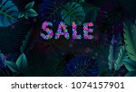 word sale made of flowers is on ... | Shutterstock . vector #1074157901