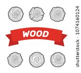 tree rings icons vector... | Shutterstock .eps vector #1074160124