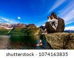 nature photographer tourist...   Shutterstock . vector #1074163835