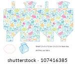 favor box die cut. sea pattern... | Shutterstock .eps vector #107416385