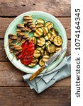 grilled vegetables and... | Shutterstock . vector #1074164345