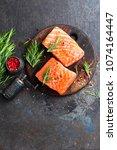 salmon. fresh salmon fish. raw... | Shutterstock . vector #1074164447