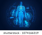 graphic of man s body x ray... | Shutterstock .eps vector #1074166319