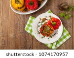 colorful baked with cheese ... | Shutterstock . vector #1074170957