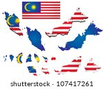 Malaysia map with flag