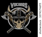 vector of vikings skull warrior ... | Shutterstock .eps vector #1074174695