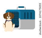 dog with box transport mascot | Shutterstock .eps vector #1074175055