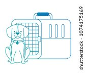 dog with box transport mascot | Shutterstock .eps vector #1074175169