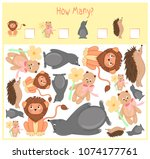 counting game for preschool... | Shutterstock .eps vector #1074177761
