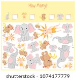counting game for preschool... | Shutterstock .eps vector #1074177779