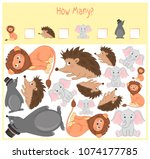 counting game for preschool... | Shutterstock .eps vector #1074177785
