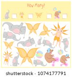 counting game for preschool... | Shutterstock .eps vector #1074177791