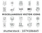 Set of 20 Miscellaneous Minimal Color Flat Line Icons. Science, Atom, Pedagogy, Vintage Telephone and Radio, Literature, Blimp, Learning, Printer, Restroom, Elevator, Helm, Presentation.