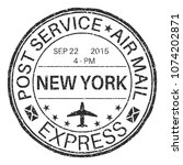 new york black round postmark... | Shutterstock . vector #1074202871