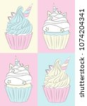 multicolored pattern. cake... | Shutterstock .eps vector #1074204341