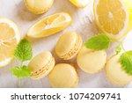 lemon macaroons with fresh... | Shutterstock . vector #1074209741