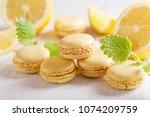 lemon macaroons with fresh... | Shutterstock . vector #1074209759
