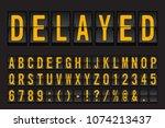 airport mechanical flip board... | Shutterstock .eps vector #1074213437