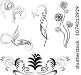 black patterns isolated  vector ... | Shutterstock .eps vector #1074213929