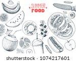 summer food vector illustration.... | Shutterstock .eps vector #1074217601