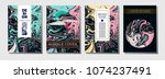 fluid ink paint cover template. ... | Shutterstock .eps vector #1074237491