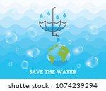 saving water and world... | Shutterstock .eps vector #1074239294