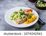 grilled chicken breast with... | Shutterstock . vector #1074242561