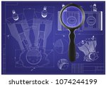 machine building drawing.... | Shutterstock .eps vector #1074244199