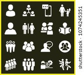 set of 16 people filled icons... | Shutterstock .eps vector #1074245351