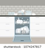 built in dishwasher with open... | Shutterstock .eps vector #1074247817