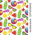summer flat color pattern... | Shutterstock .eps vector #1074256901