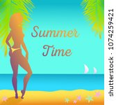 vector illustration for summer... | Shutterstock .eps vector #1074259421