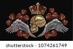 embroidery golden crown  human... | Shutterstock .eps vector #1074261749