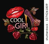 embroidery  slogan cool girl....   Shutterstock .eps vector #1074261809