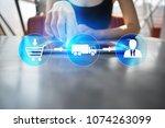 logistics and transportation... | Shutterstock . vector #1074263099
